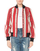Striped Wool Bomber Jacket