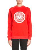 Crewneck Long-Sleeve Balmain Coin Logo Cotton Sweatshirt