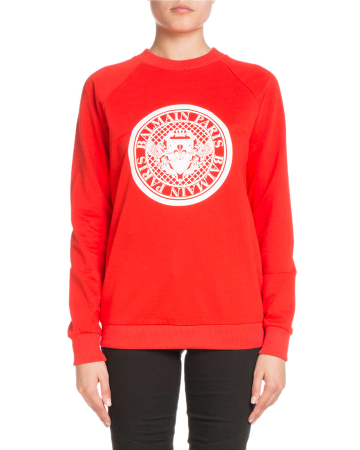 Crewneck Long-Sleeve Balmain Coin Logo Cotton Sweatshirt