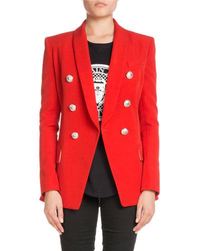 Shawl-Collar Six-Button Long Wool Jacket