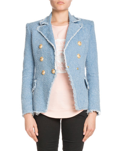 Textured Denim 6-Button Classic Blazer
