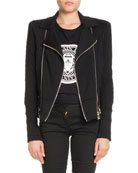 Zip-Front Cotton Moto Jacket