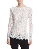 High-Neck Long-Sleeve Floral-Guipure Lace Top