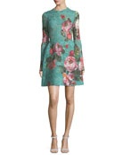 Rose-Print Guipure Lace Fit & Flare Cocktail Dress