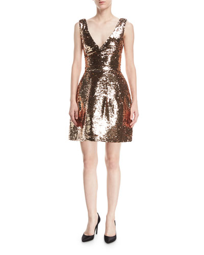 Sequined V-Neck Cocktail Dress
