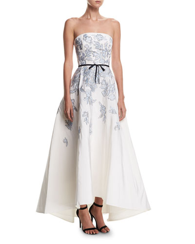 Strapless Embroidered Belted High-Low Evening Gown
