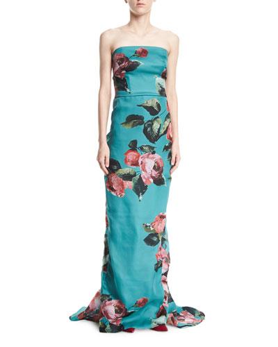 Strapless Rose-Print Organza Column Evening Gown