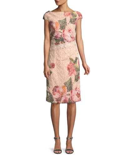 Cap-Sleeve Floral-Print Lace Cocktail Sheath Dress