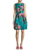 High-Neck Sleeveless Floral-Print Cocktail Dress