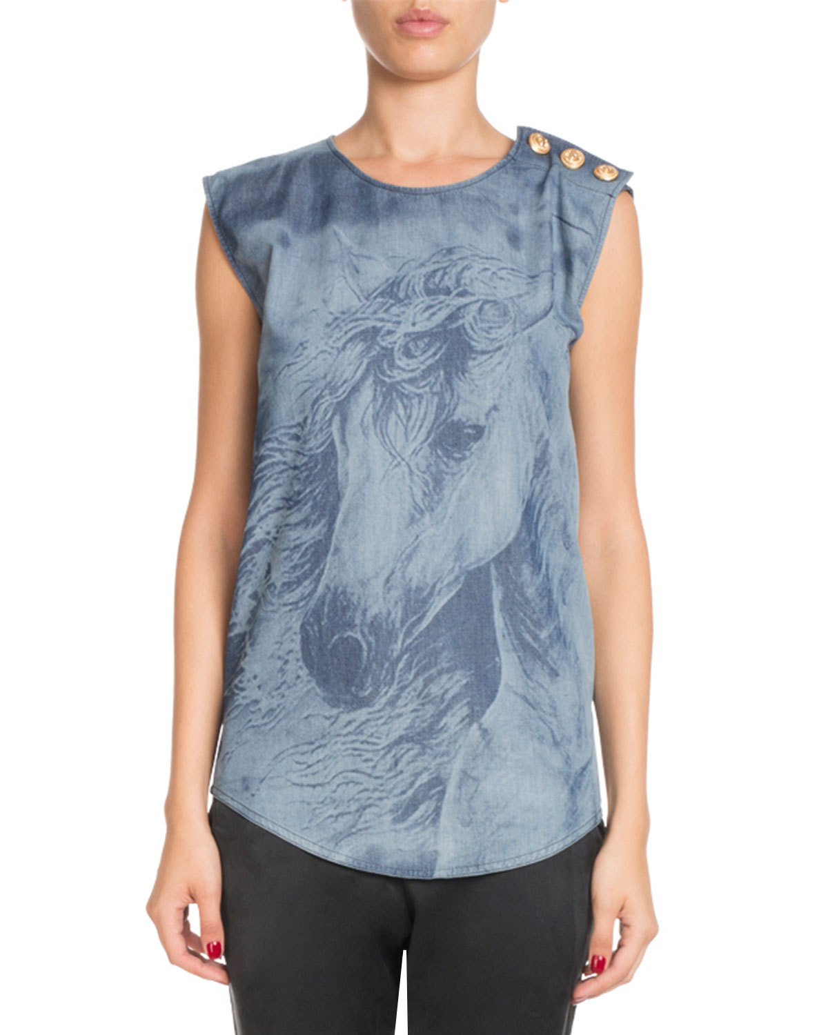 Sleeveless Horse-Print Cotton Tank Top