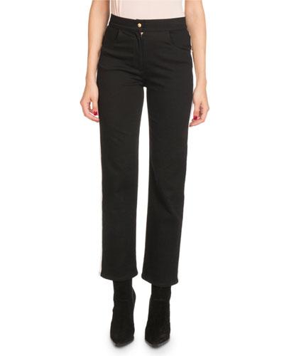 High-Waist Side-Stripe Straight-Leg Denim Pants