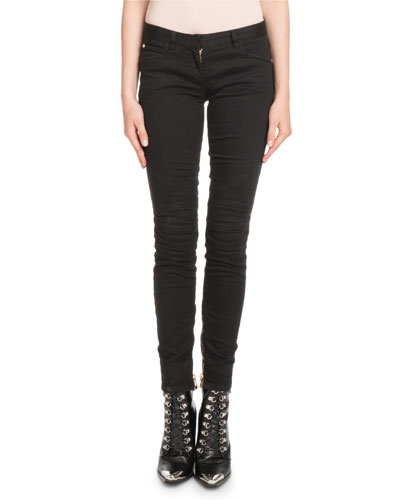 Skinny-Leg Stretch-Denim Jeans with Golden Trim