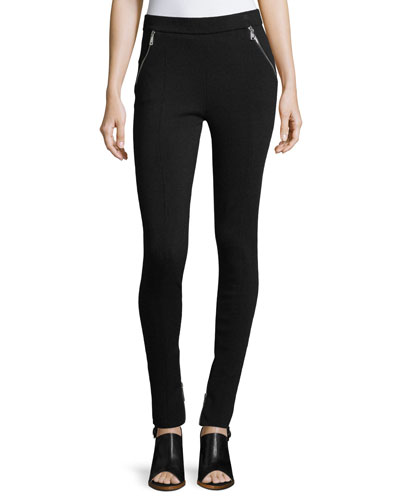 BIKER STRETCH PANT WITH SILV