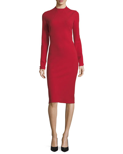 Matilda High-Neck Wool Crepe Dress