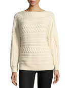 Cable-Knit Dolman-Sleeve Cashmere Sweater