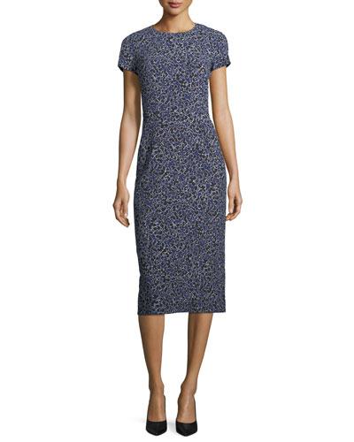 Floral-Print Cap-Sleeve Stretch-Cady Midi Sheath Dress