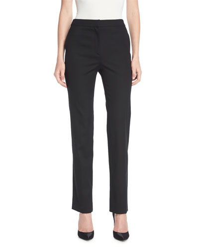 Straight-Leg Stretch-Wool Pants