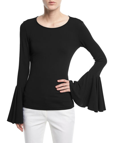 Crewneck Bell-Sleeve Jersey Top
