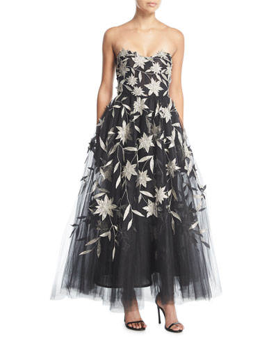 Strapless Star-Flower Embroidery Tulle Tea-Length Evening Gown