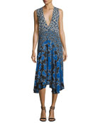 Plunging Sleeveless Georgette Mixed-Print Midi Dress