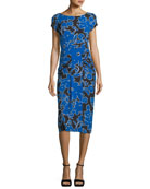 Round-Neck Cap-Sleeve Tropical Floral-Print Fitted Dress