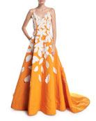 Deep-V Spaghetti-Strap Evening Gown w/ Contrast Leaf Appliques