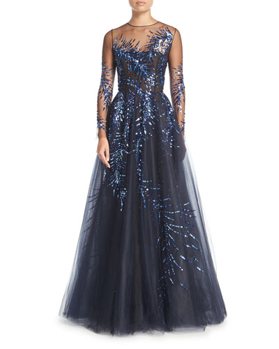 Long-Sleeve Illusion Tulle Evening Gown w/ Sequined Embellishments