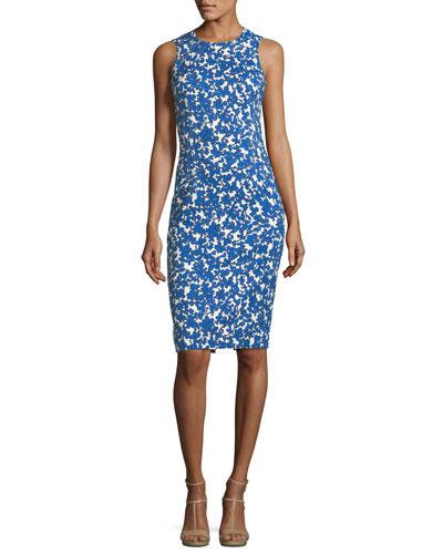 Field Floral-Print Stretch-Matelassé Sheath Dress
