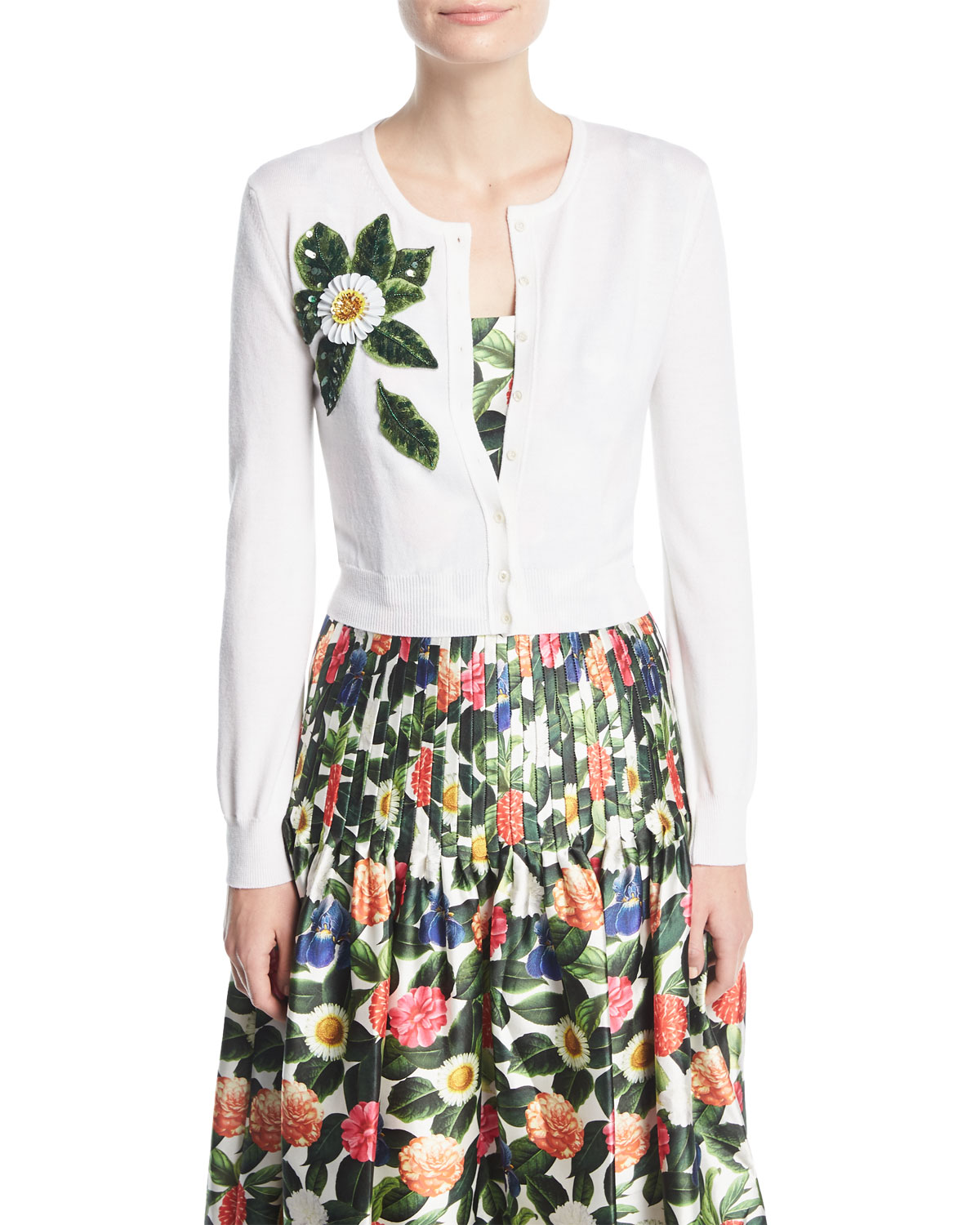 Button-Front Wool Cardigan w/ Beaded Floral Detail