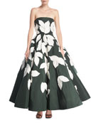 Strapless Full-Skirt Evening Gown with Floral Appliques