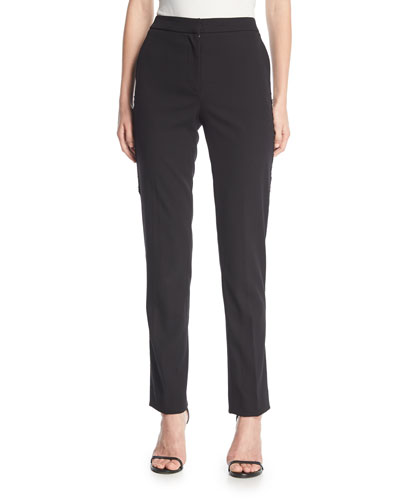 High-Waist Straight-Leg Tuxedo Pants w/ Sequin Stripe