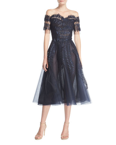 Embroidered Tulle Short-Sleeve Tea-Length Cocktail Dress