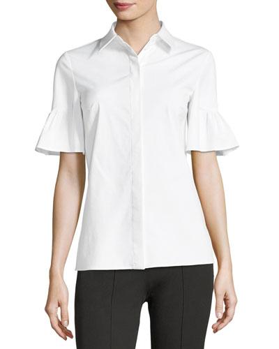 Short Bell-Sleeve Button-Front Stretch Poplin Shirt