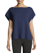 Ribbed Boat-Neck Cap-Sleeve Cashmere-Stretch Sweater