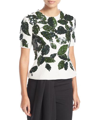 Short-Sleeve Crewneck Peplum Top w/ Leaf Paillettes
