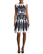 Sleeveless Knit Dress with Leaf & Monkey Print
