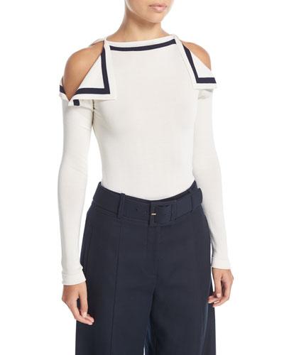 High-Neck Cold-Shoulder Pullover Top