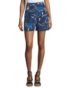 Welcome-Print High-Rise Pleated Crepe de Chine Shorts