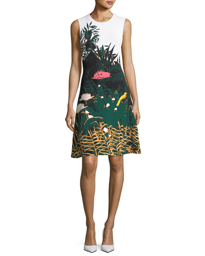 Crewneck Sleeveless Meadow-Print Short Knit Dress