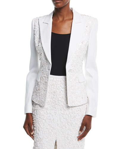 Floral-Embroidered One-Button Tailored Blazer