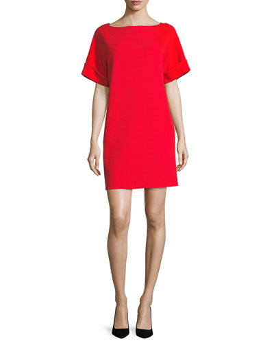 Short-Sleeve Tie-Back Shift Dress