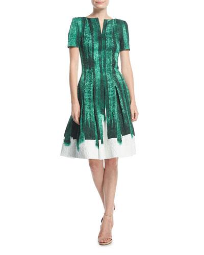 Bateau-Neck Short-Sleeve Brushstroke Cocktail Dress