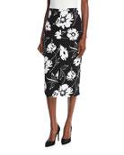 Floral-Print Crepe Cady Pencil Skirt