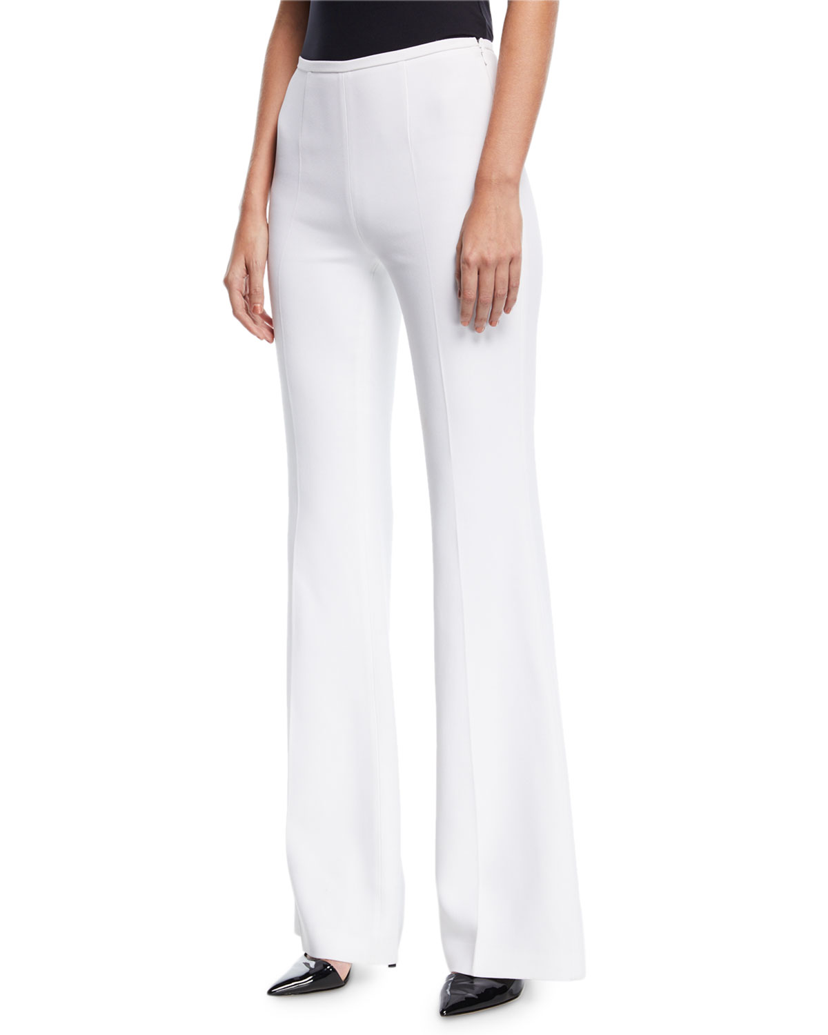 High-Rise Double-Crepe Flared-Leg Pants