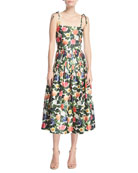 Floral-Print Tie-Straps Midi Dress
