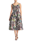 Scoop-Neck Sleeveless Jungle & Monkey-Print Tea-Length Dress