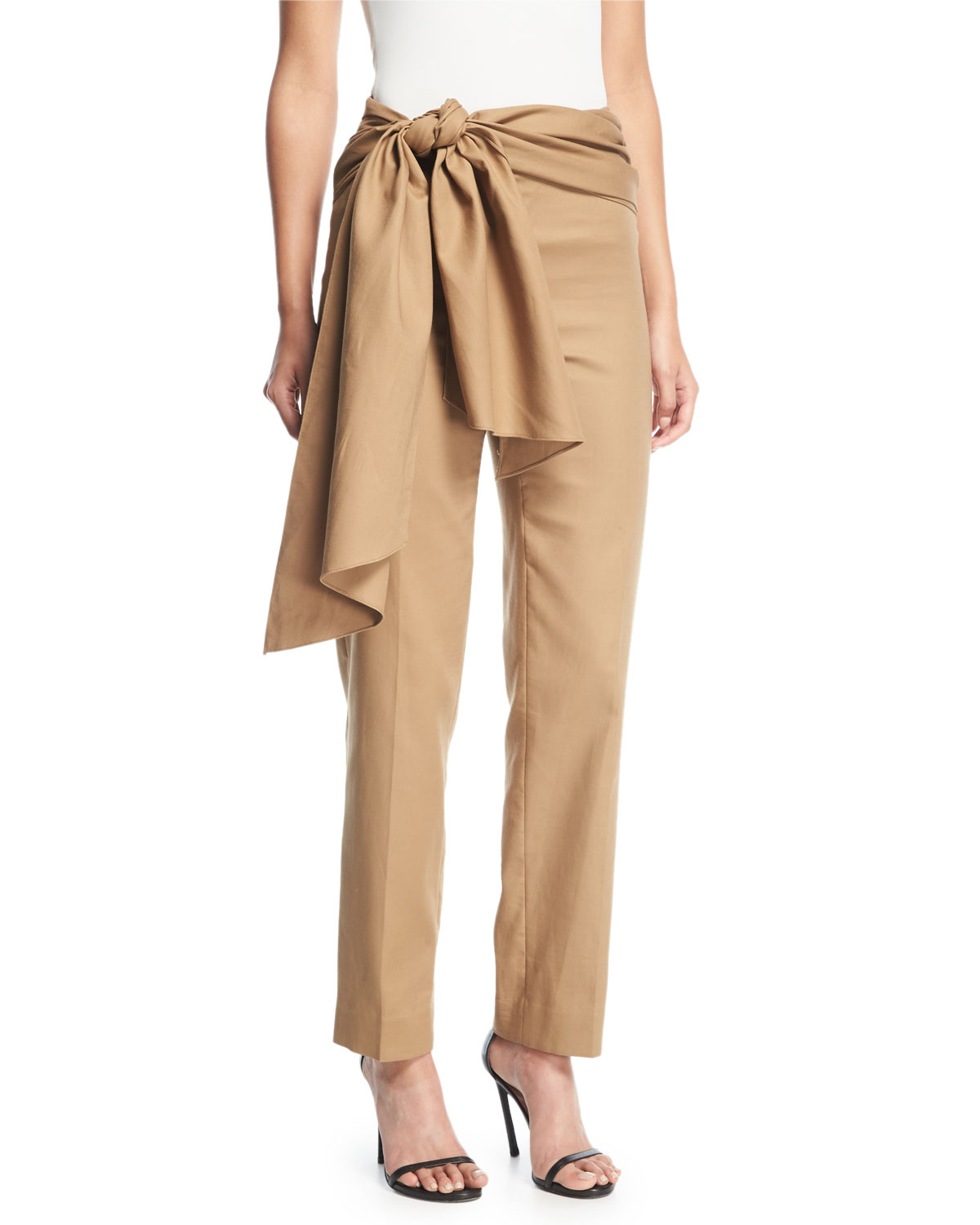 Wrap Waist Tapered Ankle Cotton Pants