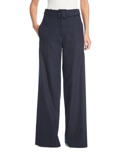 Wide-Leg Gabardine Pants