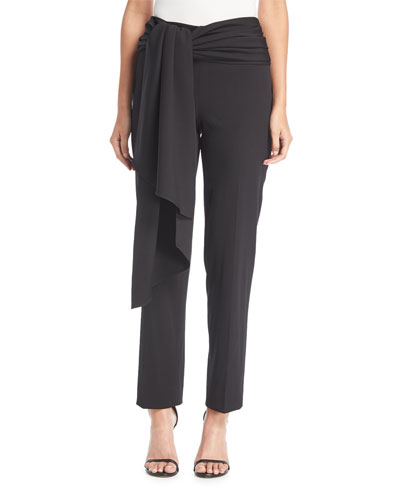 Straight-Leg Tie-Front Wool Ankle Pants
