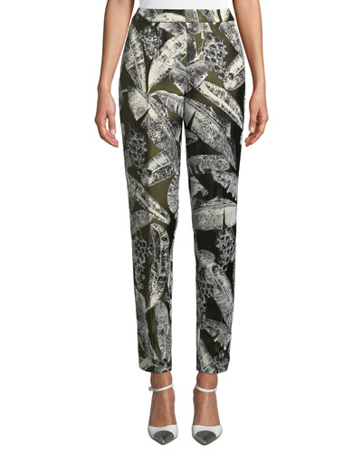 Palm-Print Skinny-Leg Pants